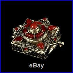 1.65 Nepal Tibetan Buddhism Pure Silver Inlay Ruby Gau Box Amulet Pendant