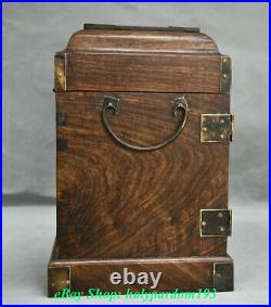 11 Chinese Huanghuali Wood Inlay Shell Flower Birds Drawer Cabinet Cupboard Box