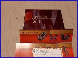 12 Chinese Lunar New Year Limited Silver Medals 24k Layered LUXURY BOX +COA
