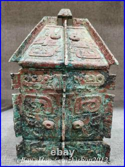 12 Old Chinese Bronze Ware Dynasty Palace Beast Face Square Food Box Vessels