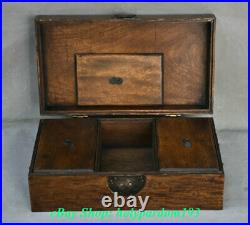 14 Old Chinese Huanghuali Wood Carving Dynasty Palace Two Bat Word Jewelry Box