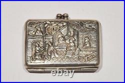 1820-30 Antique Chinese Export Silver Snuff Box Shanghai Hong Kong