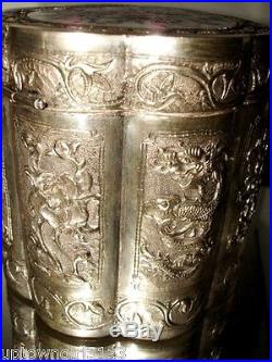 1890 FINE Chinese STERLING SILVER BOX Tea Caddy PANELS Canister MOP Canton 239gr