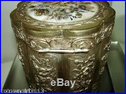1890 FINE Chinese STERLING SILVER BOX Tea Caddy PANELS Canister MOP Canton SIGNE
