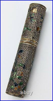 18th Century Chinese Export Enamel & Silver Gilt Filigree Etui Needle Case