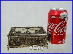 19 century SILVER JEWELED AUSTRIAN HUNGARIAN BOX / 18 century CHINESE WHITE JADE