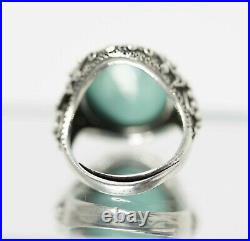 1900' China Chinese Export Silver Filigree Turquoise Cabochon Ladies Ring withBox