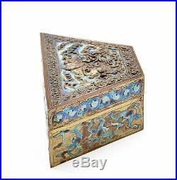 1900's Chinese Brass Repousse Cloisonne Enamel Box Kirin Qilin Bat NOT SILVER