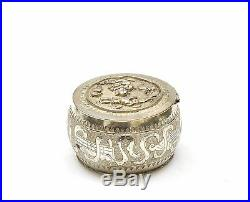 1900's Chinese Sterling Silver Repousse Pill Box Figure Figurine Marked