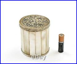 1900's Chinese Tibetan Silver Mother of Pearl Carved Carving Box Sheep