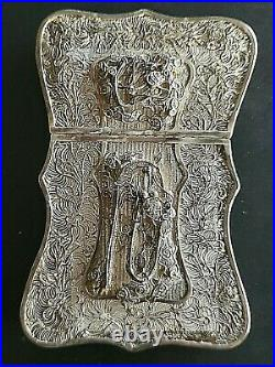 1900s CHINA CHINESE STERLING SILVER FILIGREE CARD BOX EXCELLENT CONDITION