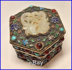 1920 Chinese Silver Trinket Box Jade Enamel Carnelian & Turquoise