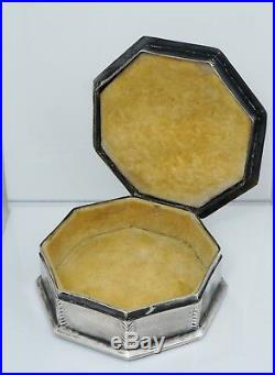 1925 Chinese Export Sterling Silver Green Nephrite Jade Jewelry Trinket Box