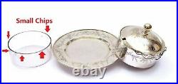 1930's Chinese Export Silver Butter Dish Cream Basket Box Glass Bowl Bamboo Mk