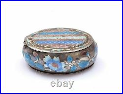 1930's Chinese Solid Silver Enamel Pill Box Marked