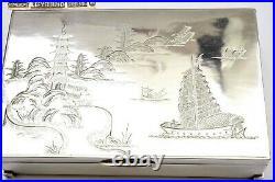 1930's Chinese Sterling Silver Box River Junk Boat Pagoda Scene LeeYeeHing Mk