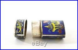 1930's Chinese Sterling Silver Enamel Cloisonne Box Flower Incense Burner Mk