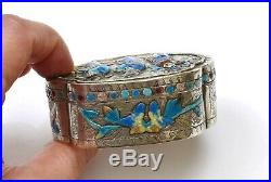 1930's Chinese Sterling Silver Repousse Enamel Box Figure Figurine Marked