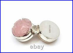 1930's Chinese Sterling Silver Rose Quartz Carved Button Calligraphy Pill Box Mk