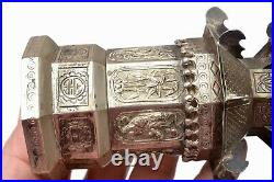 1930's Southeast Asia Repousse Solid Silver Chinese Pagoda Dragon Phoenix Box