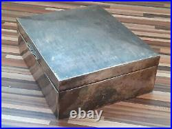 1932 China Chinese 930 Gram Solid Silver & Wood Cigarette Box Export Halmarks
