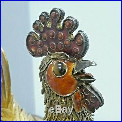 1940's Chinese Silver Gilt Filigree Enamel Rooster Cock with Box 5.5
