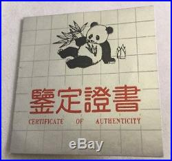 1989 1oz Fine Chinese Silver Panda Coin Proof Withbox & COA Factory Sealed Coin