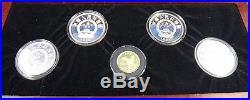 1989 China 100 Yuan Gold Chinese Tiger 5 10 Yuan Silver Proof Coin Set Box COA
