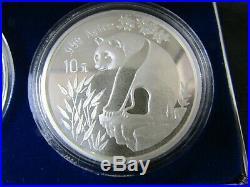 1993 Chinese Panda 3 Coin Set BU+ Proof 2oz Fine Silver+Copper Box/COA