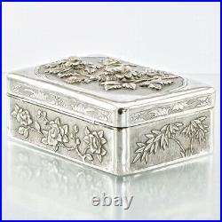 19C Antique Chinese Japanese Silver Snuff Box Cigarette Trinket Case Art Nouveau