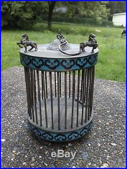 19C Antique Chinese Silver Cloisonne Cricket Cage