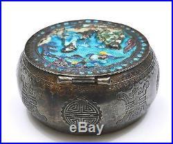 19C Chinese Silver Enamel Box Scholar Attendant Figure Figurine Chirography Mk