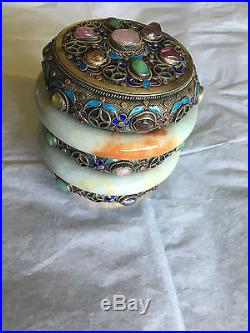 19CENTURY CHINESE SOLID SILVER FILIGREE JADE ENAMEL GEMSTONE TEA CADDY BOX