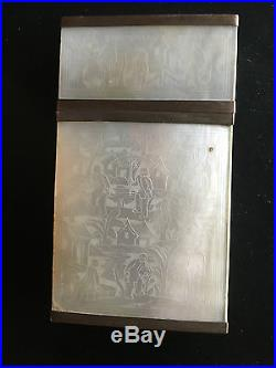 19th Century China Chinese Carved Mother Of Pearl Card Case Box