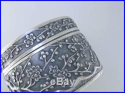19th / 20th Century Chinese Silver Box by WANG HING plum blossom signed WH 90