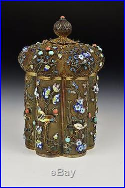 19th / 20th Century Chinese Silver & Enamel Covered Box with Turquoise & Coral