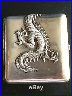 19th Century China Chinese High Relief Dragon Export Silver Case Box