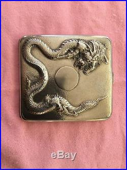 19th Century China Chinese Zeesung High Relief Dragon Export Silver Case Box