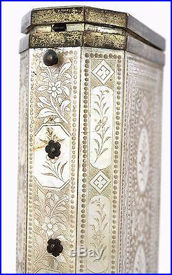19th Century Chinese Export Mother of Pearl Silver Cigarette Box Engraved DuPont