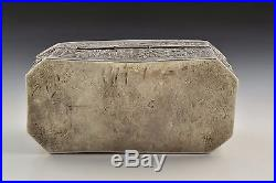 19th Century Chinese Export Silver Box with Characters & Dragons