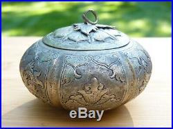 19th Century Chinese Round Silver Box