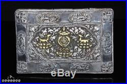 19th Century Chinese Straits Peranakan Nonya Silver & Gilt Tobacco Box