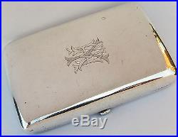 19th Century Chinese Wang Hing Solid Silver Card Case Box With Hallmark