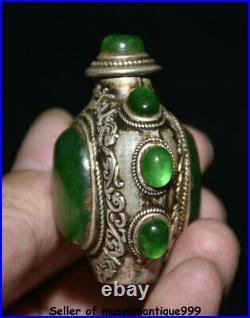 2.2 Chinese Silver Inlay Green Jade Gem Palace Pattern Snuff Box Snuff Bottle
