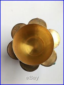 2 Antique Chinese Tea Caddy Silver Gilt Filigree Enamel Semi-Precious Gems Jade