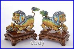 2 Chinese Gilt Solid Silver Enamel Foo Fu Dog Lion Wood Carved Stand & Box
