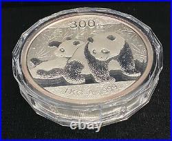 2010 Proof Chinese Panda Commemorative 1 Kilo. 999 Fine Silver Coin with Box & COA