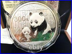 2012 Kilogram Silver Panda Kilo 300 YUAN China Chinese Wood Display Box COA