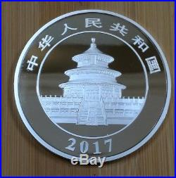 2017 150 gram Chinese Panda 50 Yuan. 999 Fine SILVER PROOF 4.8 Oz. With BOX & COA