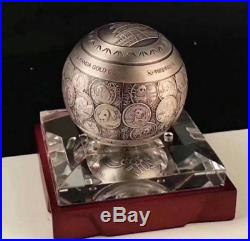 2017 35th anni of Chinese gold panda 1 kilo silver ball with coa and box